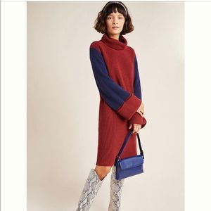 Anthropologie Colorblock Sweater Dress Red & Navy